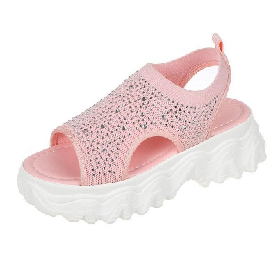 FFT444 Women Casual Flyknit Fabric Rhinestones Slip On Creepers Platform Sandals_11