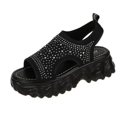 FFT444 Women Casual Flyknit Fabric Rhinestones Slip On Creepers Platform Sandals_14