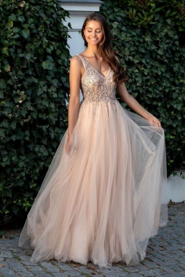 ZY360 Beautiful Evening Dresses Long V Neckline Cheap Prom Dresses Online_1