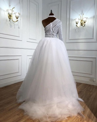 ZY435 Elegant Evening Dresses Long White Prom Dresses With Sleeves_2