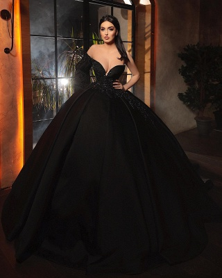 ZY462 Fashion Evening Dresses Long Black Prom Dresses With Sleeves_3