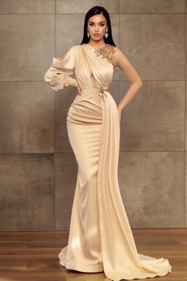 ZY456 Simple Evening Dress Long Prom Dresses With Sleeves_1