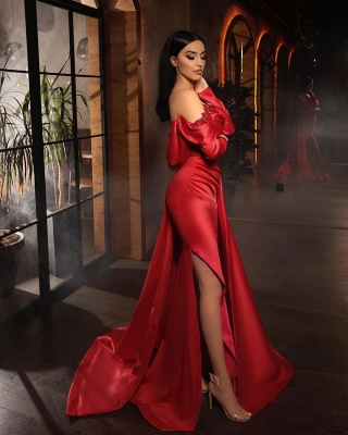 ZY455 Prom Dresses With Sleeves Red Evening Dress Long_2