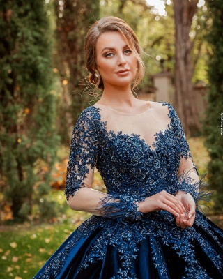 ZY467 King Blue Velvet Evening Dresses With Sleeves Prom Dresses Long Cheap_2