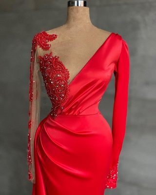 ZY471 Red Evening Dress Long Prom Dresses With Sleeves_2