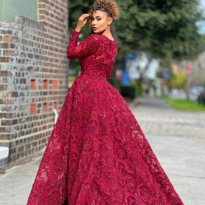 ZY473 Red Evening Dresses With Lace Prom Dresses Long Sleeves_2