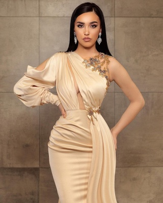 ZY456 Simple Evening Dress Long Prom Dresses With Sleeves_2