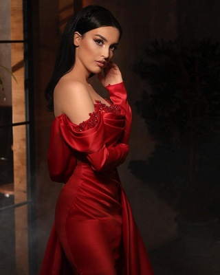 ZY455 Prom Dresses With Sleeves Red Evening Dress Long_3