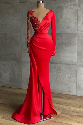 ZY471 Red Evening Dress Long Prom Dresses With Sleeves_1