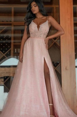 ZY472 Evening Dress Long Pink Prom Dresses With Glitter_1