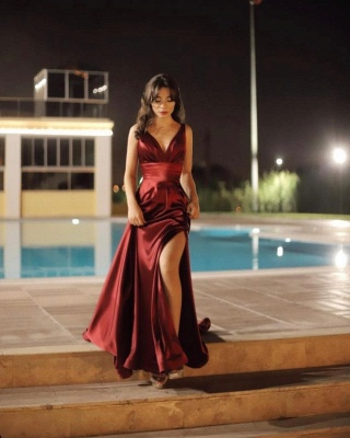 ZY457 Evening Dress Long V Neckline Evening Wear Online_3