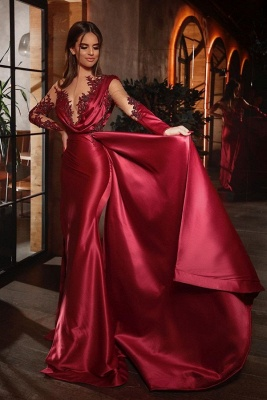 ZY469 Elegant Red Prom Dresses Cheap Evening Dresses With Sleeves_1