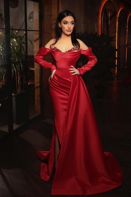 ZY455 Prom Dresses With Sleeves Red Evening Dress Long_1