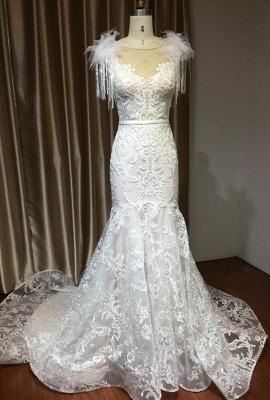 CPH233 Gergous Mermaid Appliques Further Tassel Open Back Wedding Dress_2