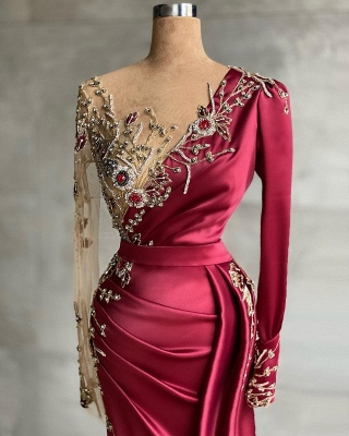 ZY468 Red Evening Dress Long Prom Dresses With Sleeves_2