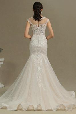 CPH234 Mermaid Lace Cap Sleeve Sheer Tulle Neckline Wedding Dress_7
