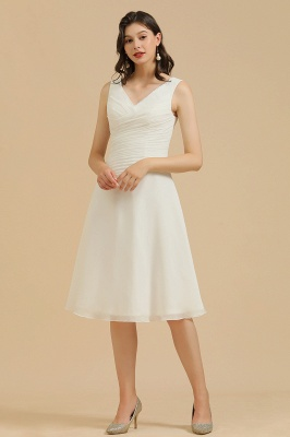 BM2005 Simple A-line Straps Ruffles Short Bridesmaid Dress_1