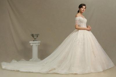 CPH224 Off-the-shoulder Appliques Beads Tassel Ball Gown Wedding Dress_3