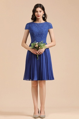 BM2003 Royal Blue Lace Short Sleeve Knee Length Bridesmaid Dress_6