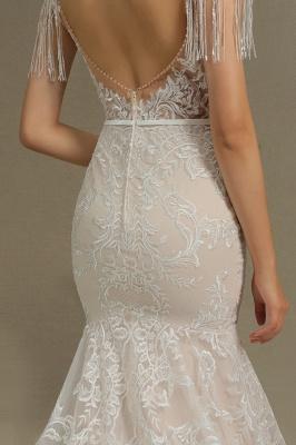 CPH233 Gergous Mermaid Appliques Further Tassel Open Back Wedding Dress_8