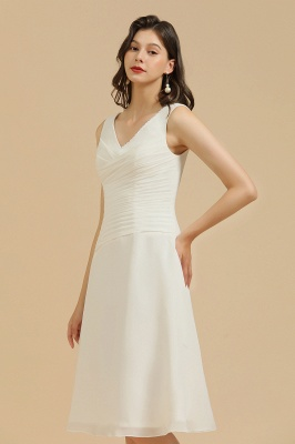 BM2005 Simple A-line Straps Ruffles Short Bridesmaid Dress_4