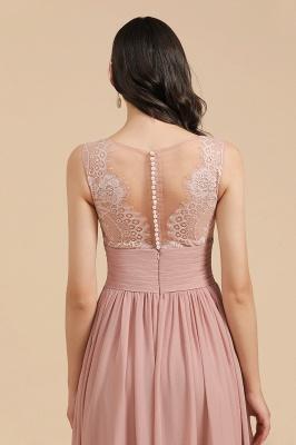 BM2006 Elegant A-line Straps Lace Tulle Long Bridesmaid Dress_10