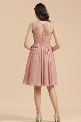 BM2008 Simple Lace Sleeveless Knee Length Short Bridesmaid Dress_3