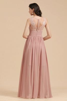 BM2006 Elegant A-line Straps Lace Tulle Long Bridesmaid Dress_3