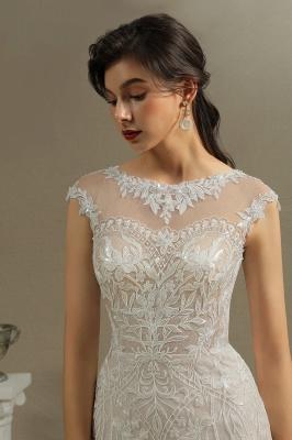 CPH234 Mermaid Lace Cap Sleeve Sheer Tulle Neckline Wedding Dress_4