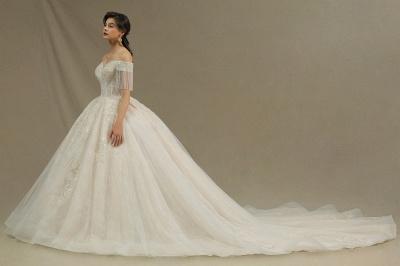 CPH224 Off-the-shoulder Appliques Beads Tassel Ball Gown Wedding Dress_6