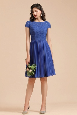 BM2003 Royal Blue Lace Short Sleeve Knee Length Bridesmaid Dress_4