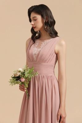 BM2006 Elegant A-line Straps Lace Tulle Long Bridesmaid Dress_9