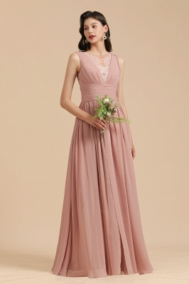 BM2006 Elegant A-line Straps Lace Tulle Long Bridesmaid Dress_4