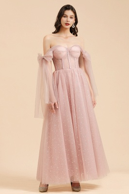 BM2007 Off The Shoulder A-line Pink Bow Tulle Bridesmaid Dress_3