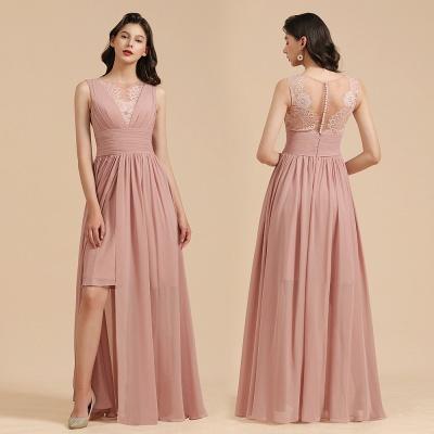 BM2006 Elegant A-line Straps Lace Tulle Long Bridesmaid Dress_11