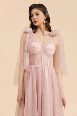 BM2007 Off The Shoulder A-line Pink Bow Tulle Bridesmaid Dress_9