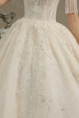 CPH224 Off-the-shoulder Appliques Beads Tassel Ball Gown Wedding Dress_4
