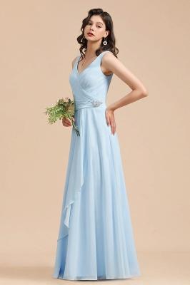BM2002 Sky Blue Ruffles Straps Beads Bridesmaid Dress_5