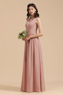 BM2006 Elegant A-line Straps Lace Tulle Long Bridesmaid Dress_7