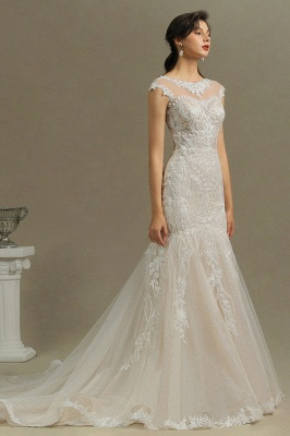 CPH234 Mermaid Lace Cap Sleeve Sheer Tulle Neckline Wedding Dress_5