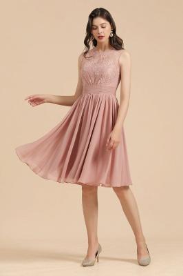 BM2008 Simple Lace Sleeveless Knee Length Short Bridesmaid Dress_4