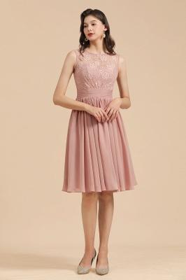 BM2008 Simple Lace Sleeveless Knee Length Short Bridesmaid Dress_6