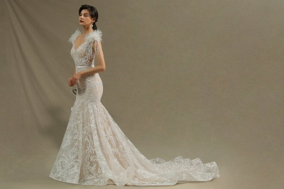 CPH233 Gergous Mermaid Appliques Further Tassel Open Back Wedding Dress_5