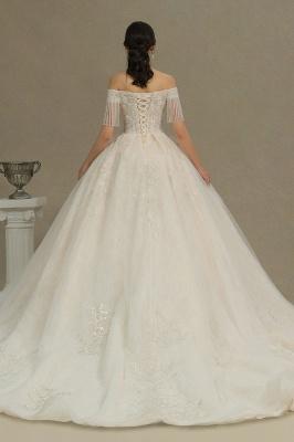 CPH224 Off-the-shoulder Appliques Beads Tassel Ball Gown Wedding Dress_5