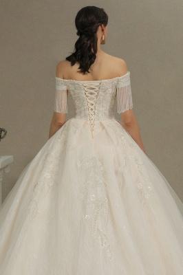 CPH224 Off-the-shoulder Appliques Beads Tassel Ball Gown Wedding Dress_8