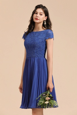 BM2003 Royal Blue Lace Short Sleeve Knee Length Bridesmaid Dress_1