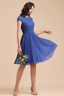 BM2003 Royal Blue Lace Short Sleeve Knee Length Bridesmaid Dress_7