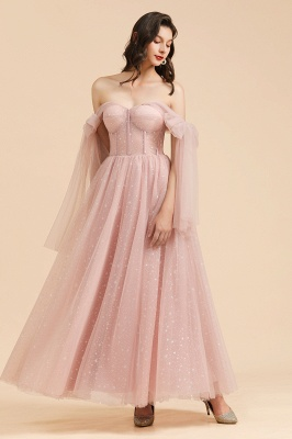 BM2007 Off The Shoulder A-line Pink Bow Tulle Bridesmaid Dress_8