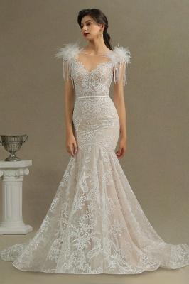 CPH233 Gergous Mermaid Appliques Further Tassel Open Back Wedding Dress_3