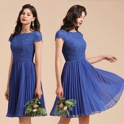 BM2003 Royal Blue Lace Short Sleeve Knee Length Bridesmaid Dress_10